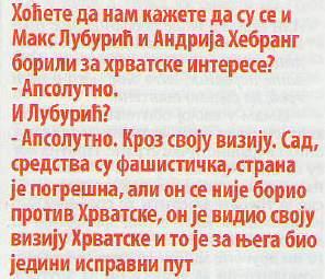 Interview Andrije Hebranga u NINu